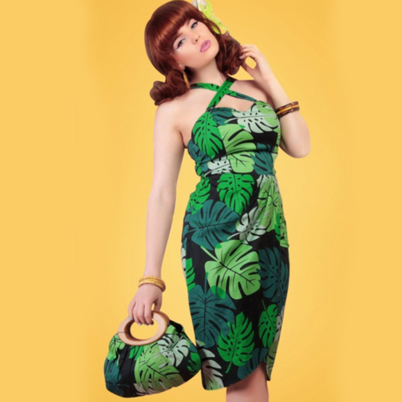best service 28c97 7c5bb Tahiti Palm Print Sarong Dress